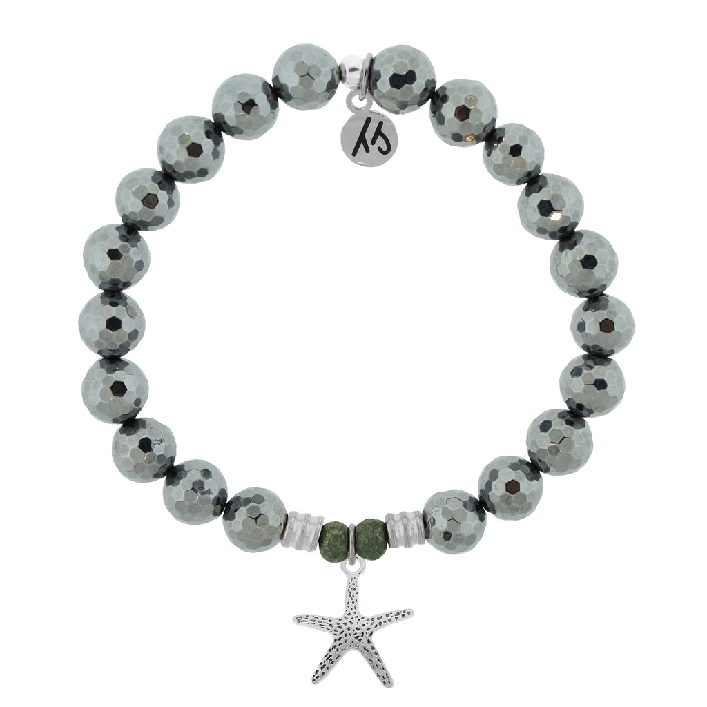 Terahertz Stone Bracelet with Starfish Sterling Silver Charm
