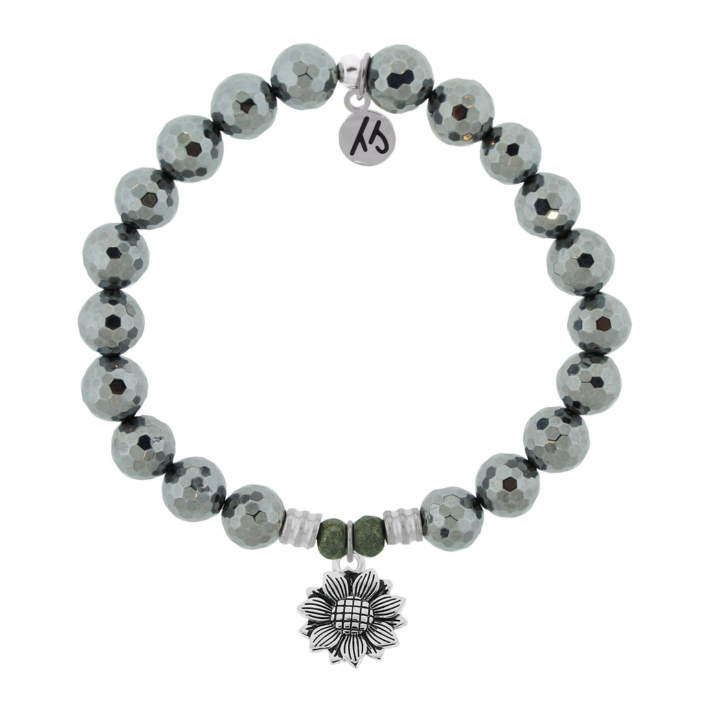 Terahertz Stone Bracelet with Sunflower Sterling Silver Charm