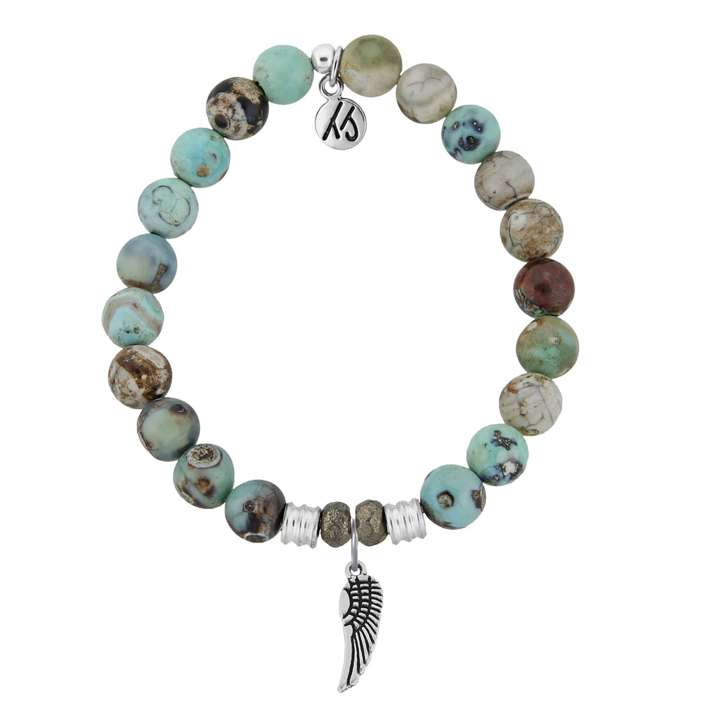 Turquoise Jasper Stone Bracelet with Angel Wing Sterling Silver Charm