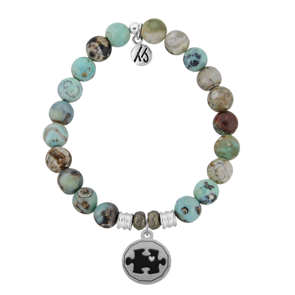 Turquoise Jasper Stone Bracelet with Autism Awareness Sterling Silver Charm