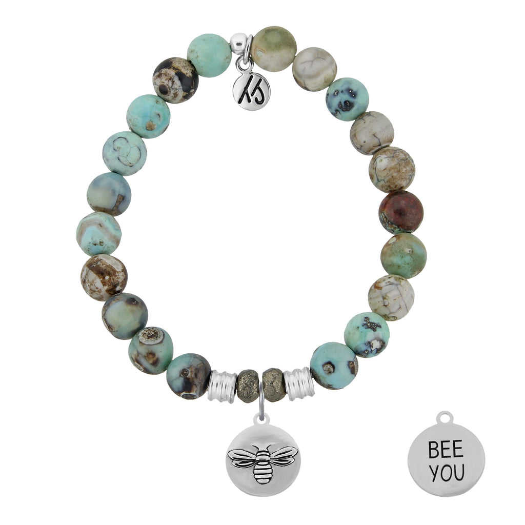 Turquoise Jasper Stone Bracelet with Bee You Sterling Silver Charm
