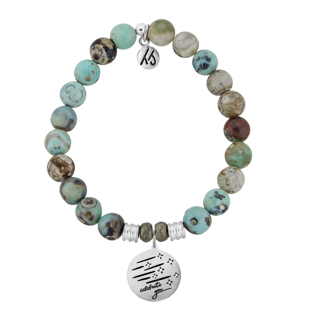 Turquoise Jasper Stone Bracelet with Birthday Wishes Sterling Silver Charm