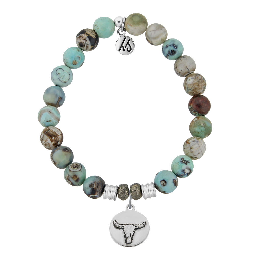 Turquoise Jasper Stone Bracelet with Bull Sterling Silver Charm