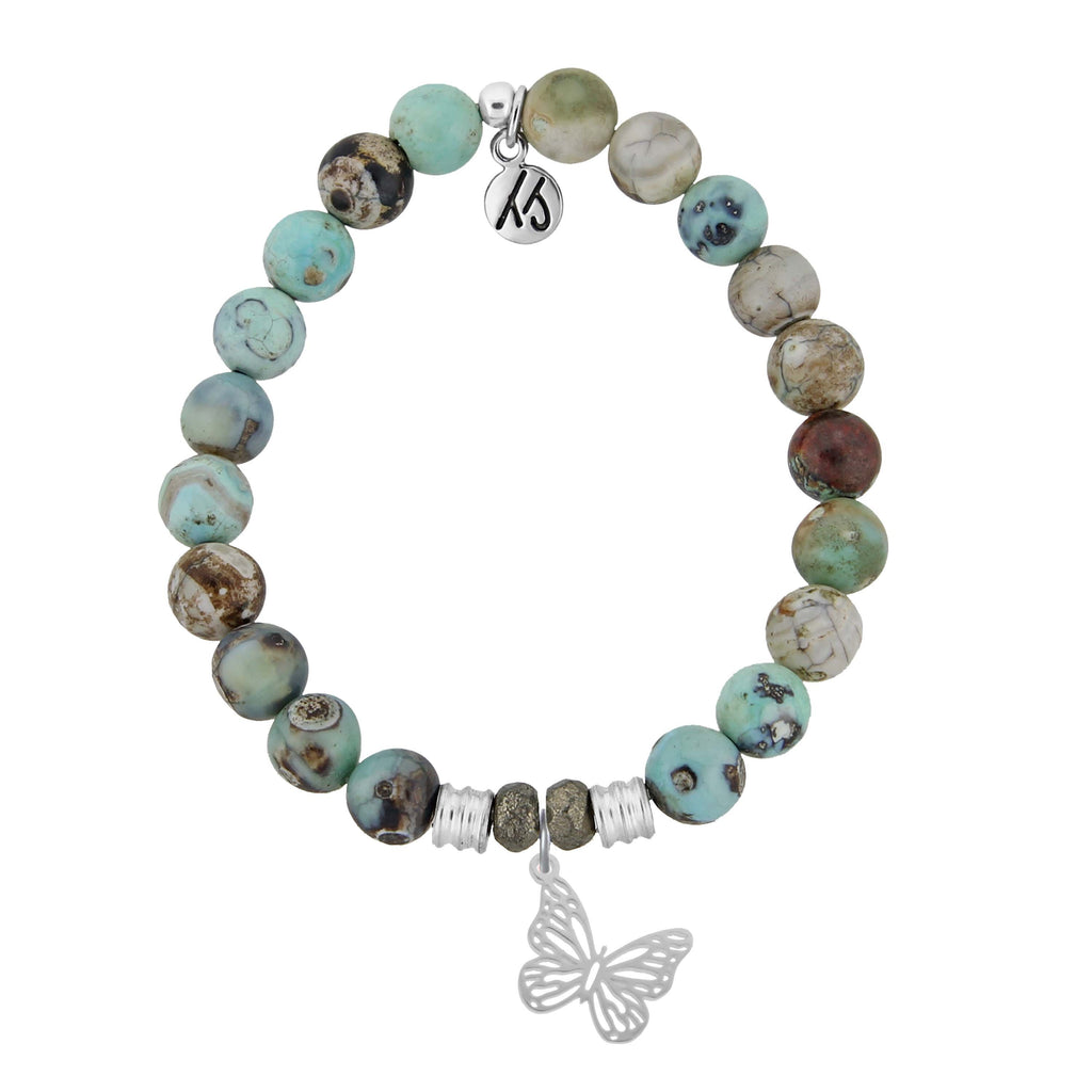 Turquoise Jasper Stone Bracelet with Butterfly Sterling Silver Charm