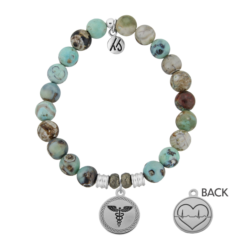 Turquoise Jasper Stone Bracelet with Caduceus Sterling Silver Charm