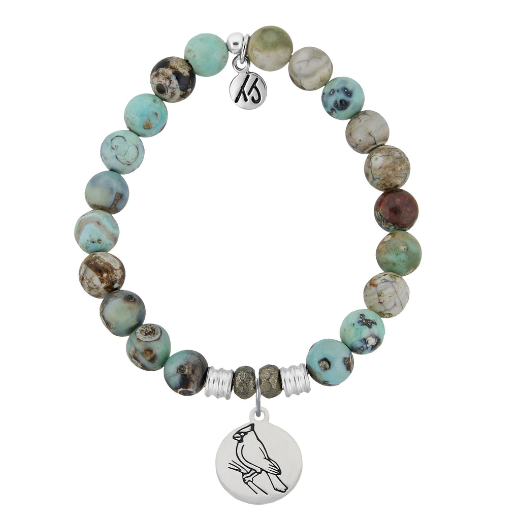 Turquoise Jasper Stone Bracelet with Cardinal Sterling Silver Charm
