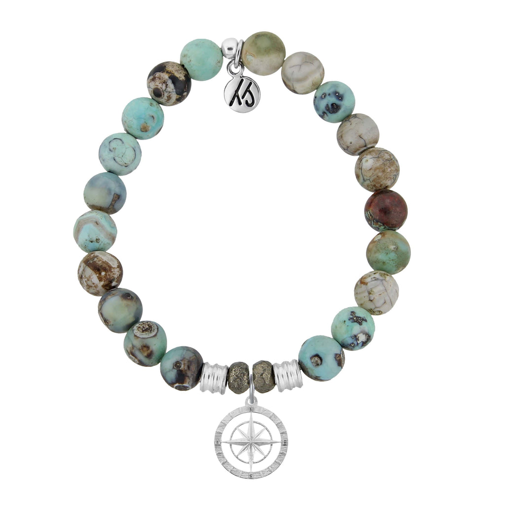 Turquoise Jasper Stone Bracelet with Compass Rose Sterling Silver Charm