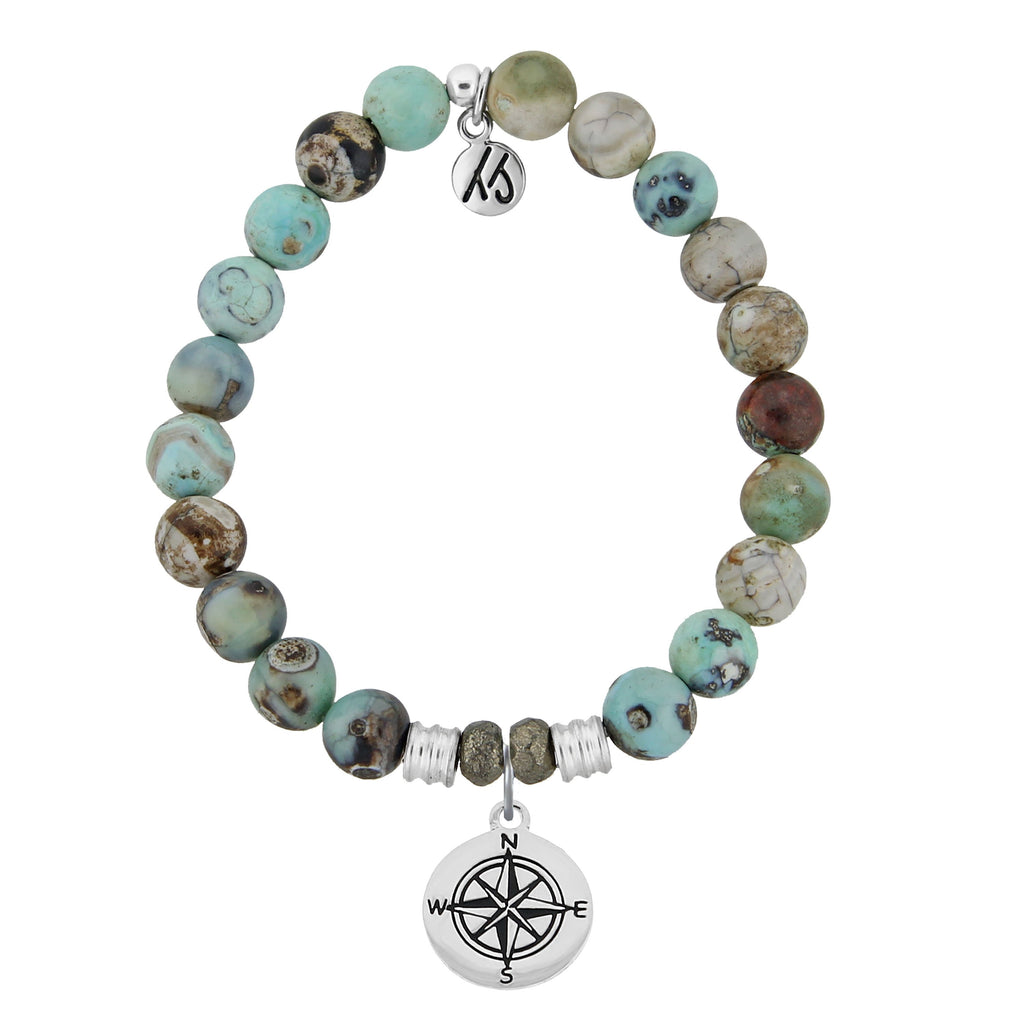 Turquoise Jasper Stone Bracelet with Compass Sterling Silver Charm