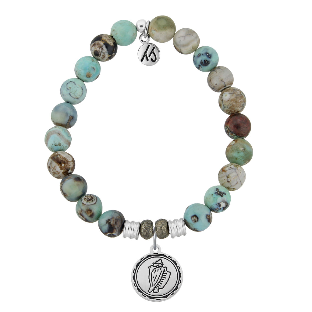 Turquoise Jasper Stone Bracelet with Conch Shell Sterling Silver Charm