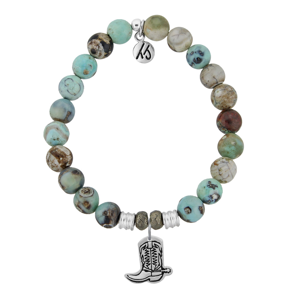 Turquoise Jasper Stone Bracelet with Cowboy Boot Sterling Silver Charm