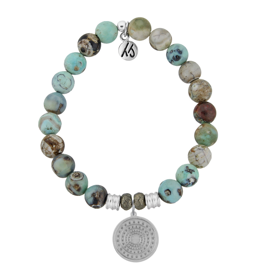 Turquoise Jasper Stone Bracelet with Family Circle Sterling Silver Charm