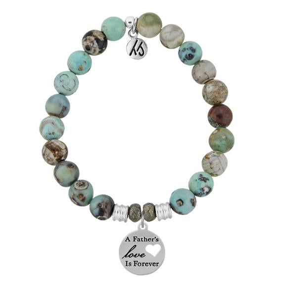 Turquoise Jasper Stone Bracelet with Fathers Love Sterling Silver Charm