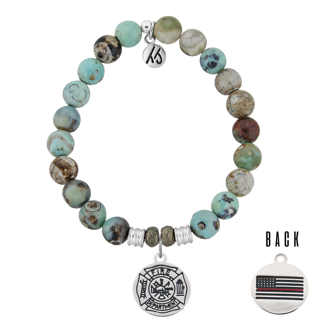 Turquoise Jasper Stone Bracelet with Firefighter Sterling Silver Charm