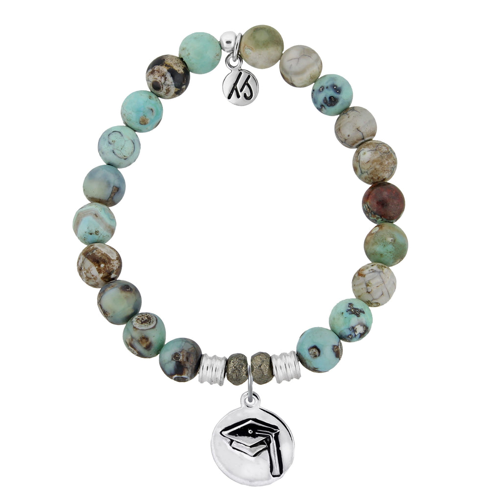 Turquoise Jasper Stone Bracelet with Grad Cap Sterling Silver Charm