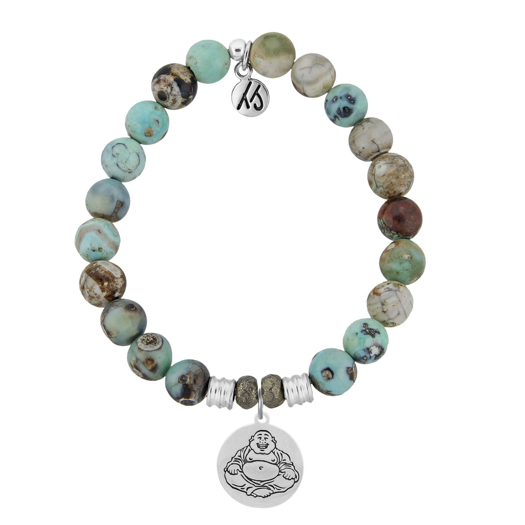 Turquoise Jasper Stone Bracelet with Happy Buddha Sterling Silver Charm