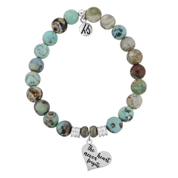 Turquoise Jasper Stone Bracelet with Heart Never Forgets Sterling Silver Charm