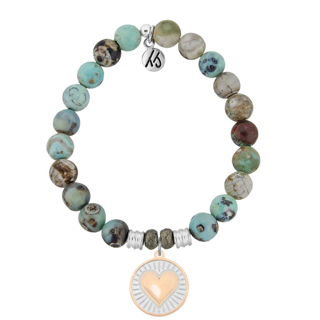 Turquoise Jasper Stone Bracelet with Heart of Gold Sterling Silver Charm