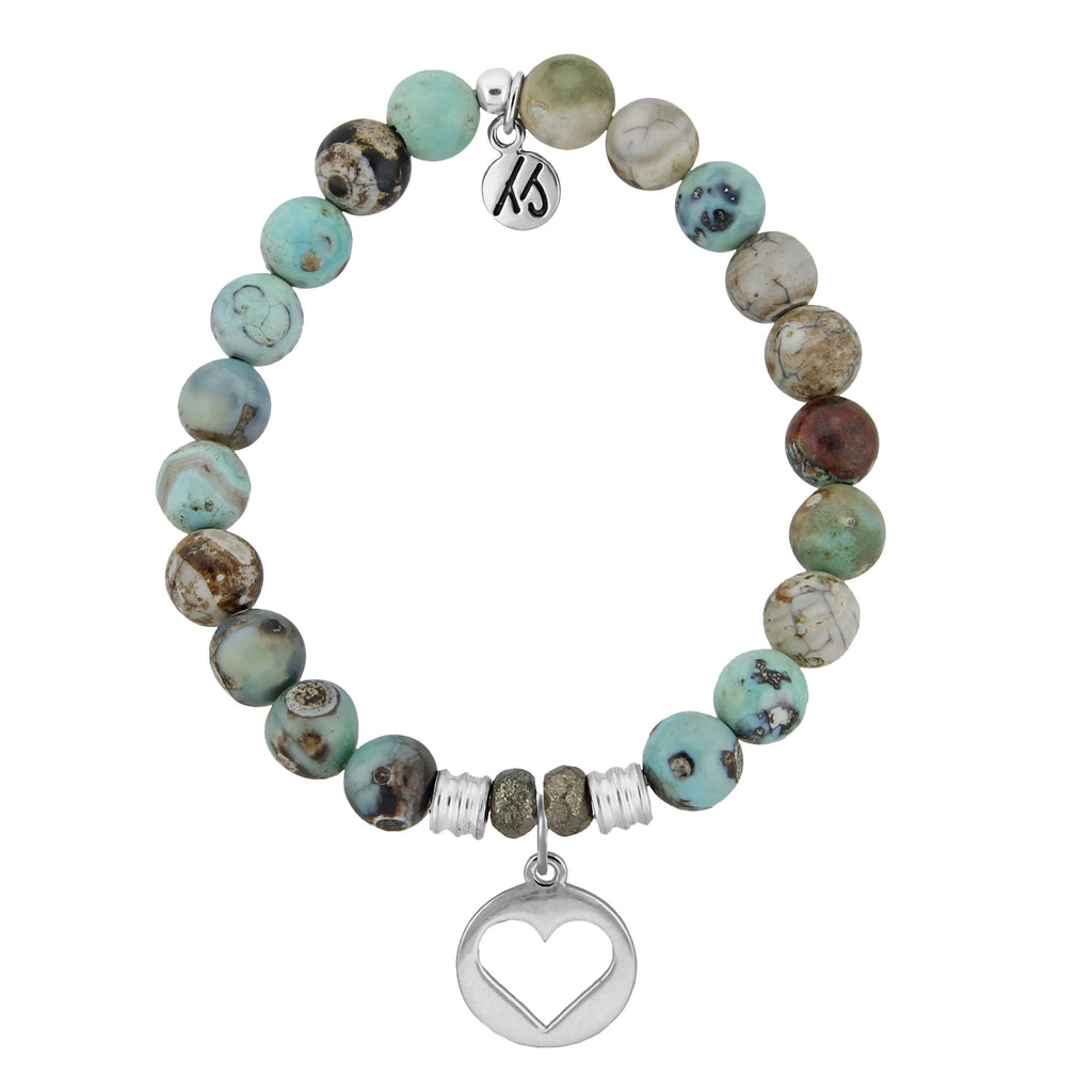 Turquoise Jasper Stone Bracelet with Heart Sterling Silver Charm