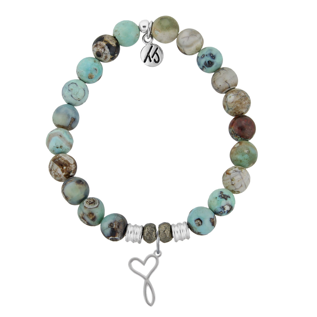 Turquoise Jasper Stone Bracelet with Infinity Heart Sterling Silver Charm