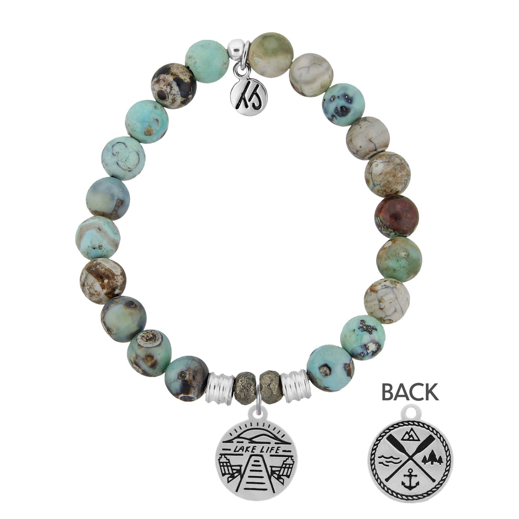 Turquoise Jasper Stone Bracelet with Lake Life Sterling Silver Charm