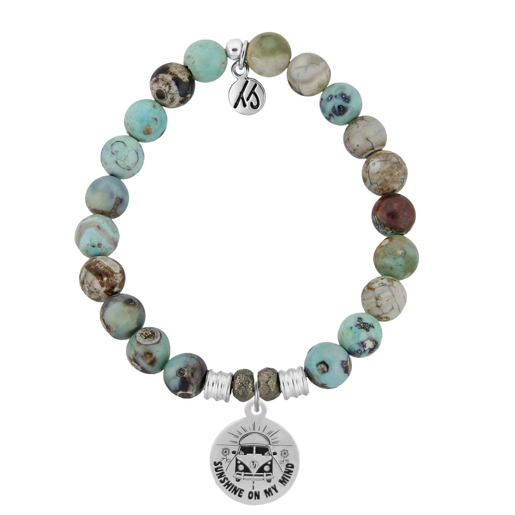 Turquoise Jasper Stone Bracelet with Life's a Journey Sterling Silver Charm