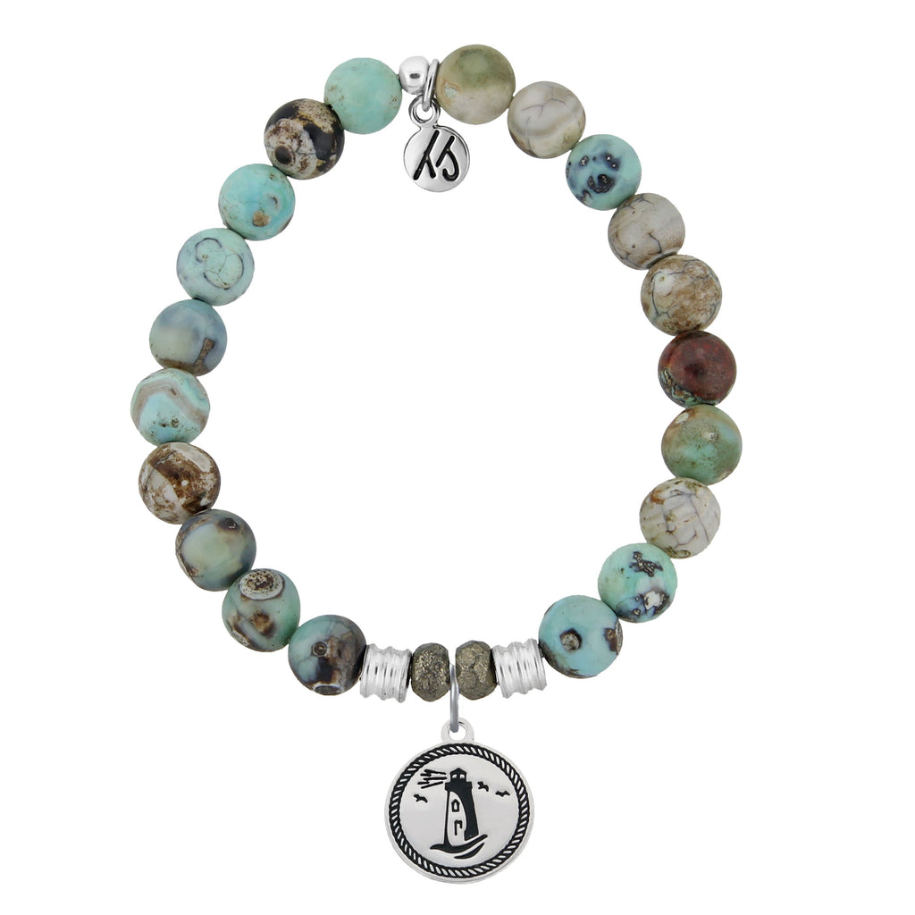 Turquoise Jasper Stone Bracelet with Lighthouse Sterling Silver Charm