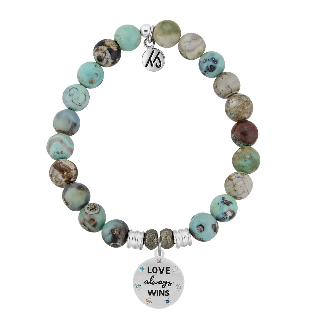 Turquoise Jasper Stone Bracelet with Love Always Wins Sterling Silver Charm