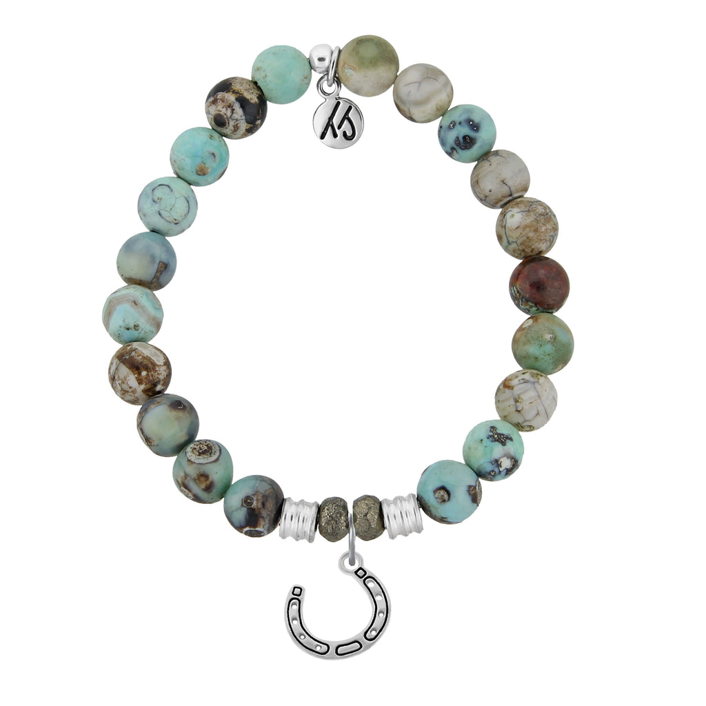 Turquoise Jasper Stone Bracelet with Lucky Horseshoe Sterling Silver Charm