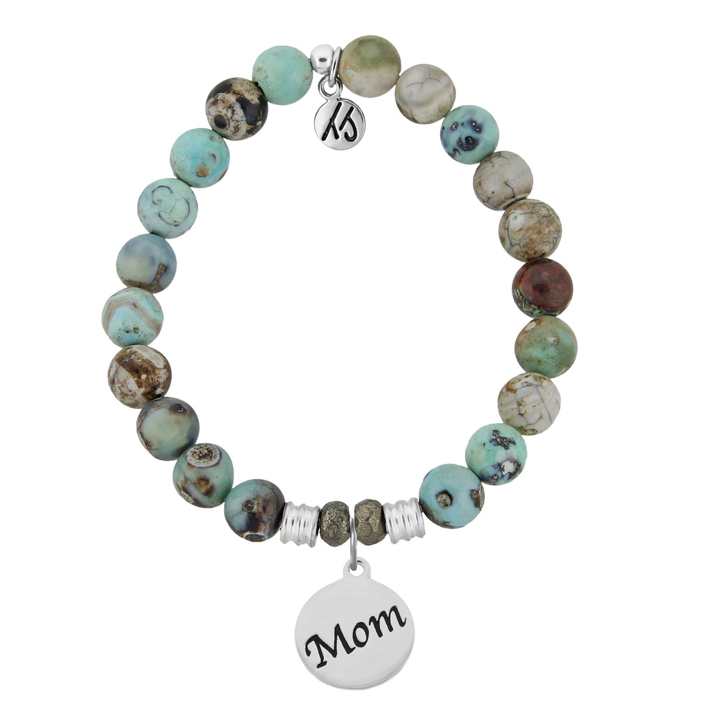 Turquoise Jasper Stone Bracelet with Mom Endless Love Sterling Silver Charm