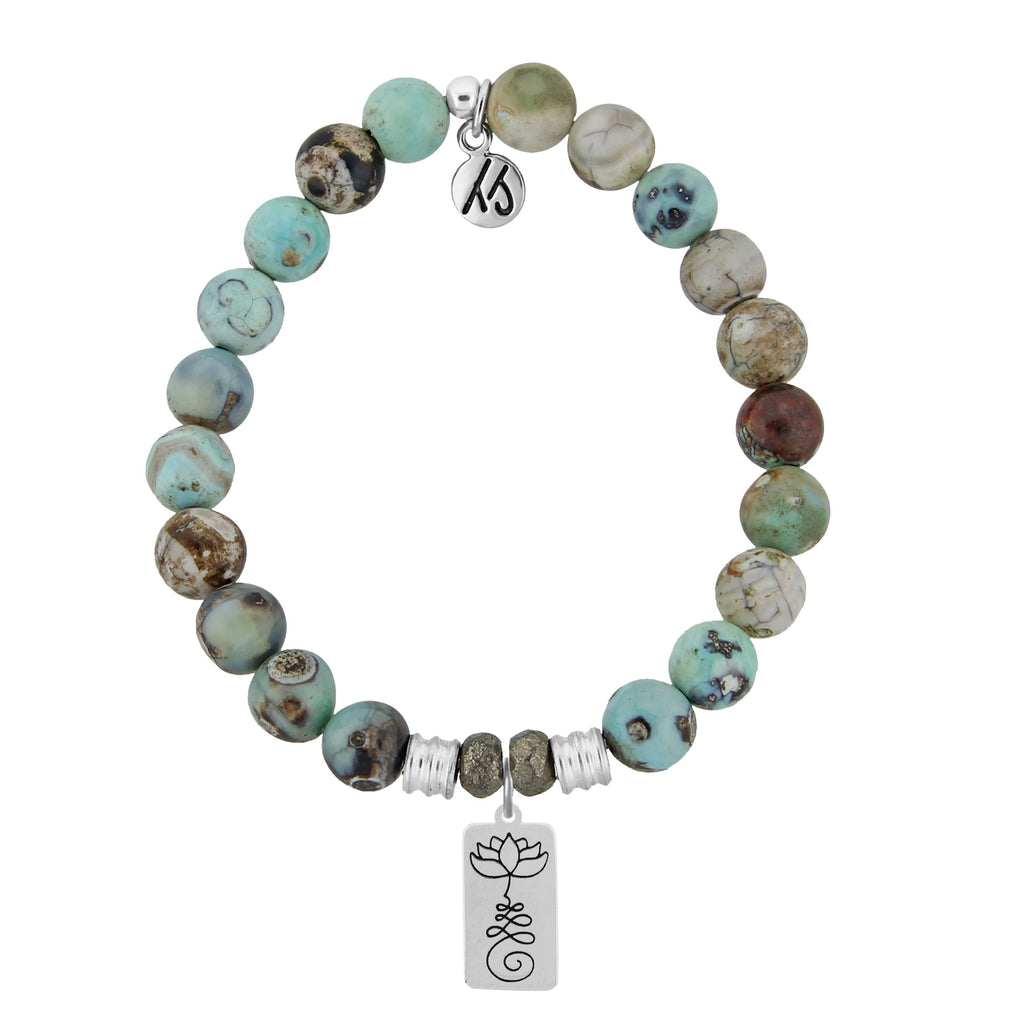 Turquoise Jasper Stone Bracelet with New Beginnings Sterling Silver Charm