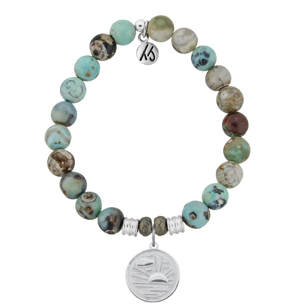 Turquoise Jasper Stone Bracelet with New Day Sterling Silver Charm