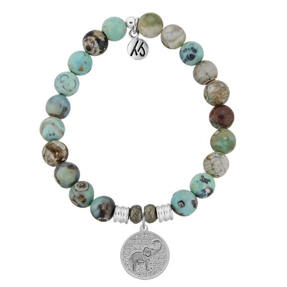 Turquoise Jasper Stone Bracelet with New Lucky Elephant Sterling Silver Charm