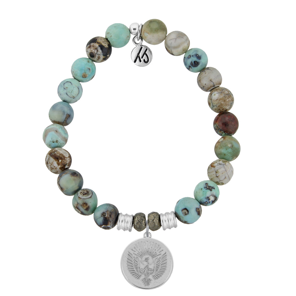 Turquoise Jasper Stone Bracelet with Phoenix Sterling Silver Charm