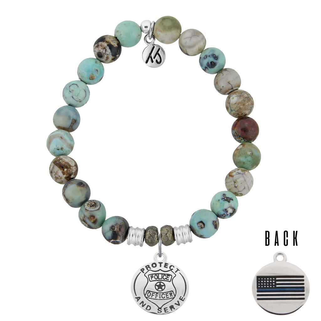 Turquoise Jasper Stone Bracelet with Police Sterling Silver Charm