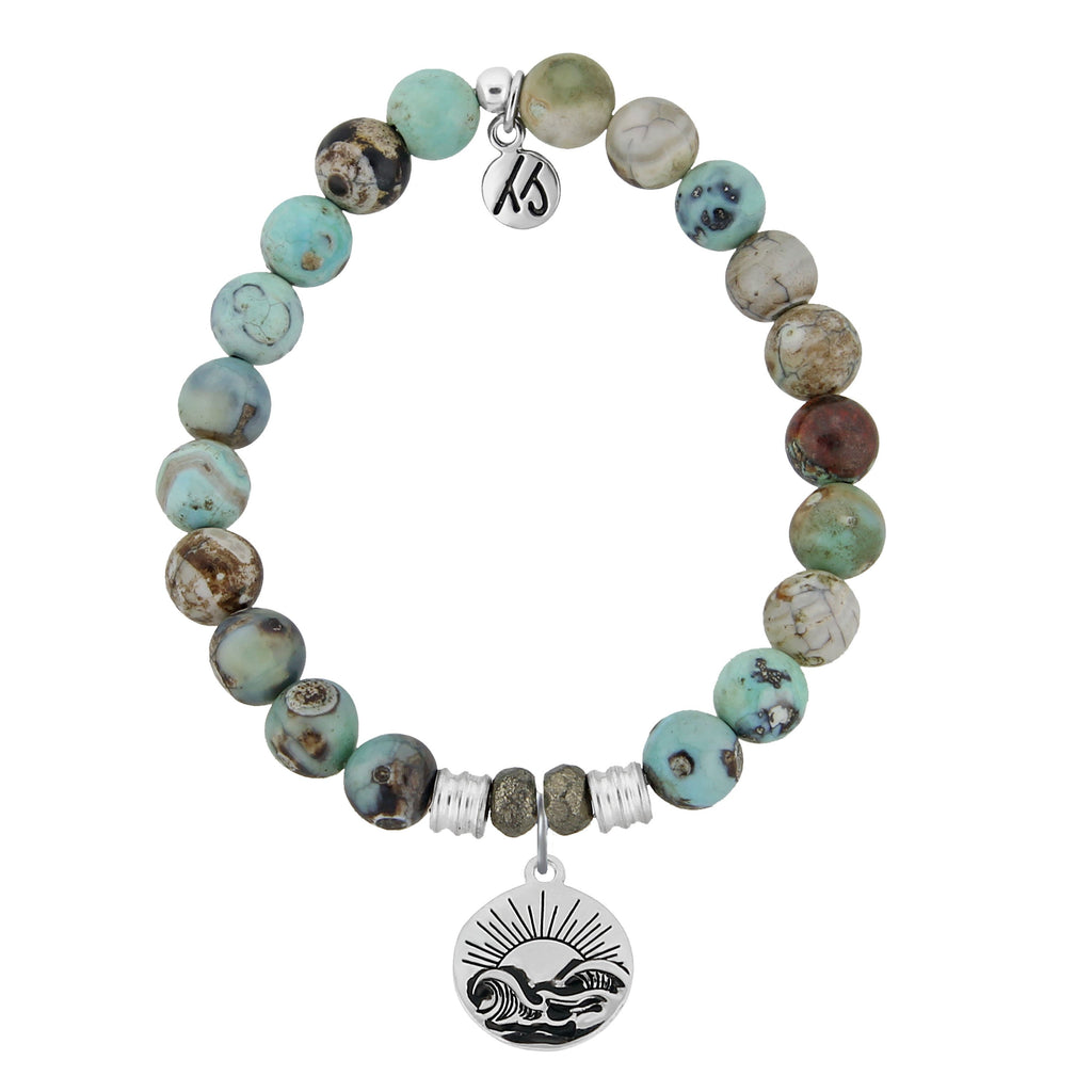 Turquoise Jasper Stone Bracelet with Rising Sun Sterling Silver Charm