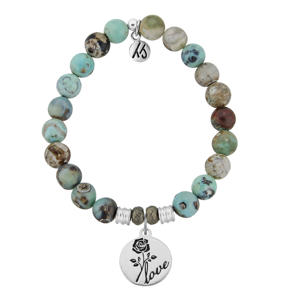 Turquoise Jasper Stone Bracelet with Rose Sterling Silver Charm