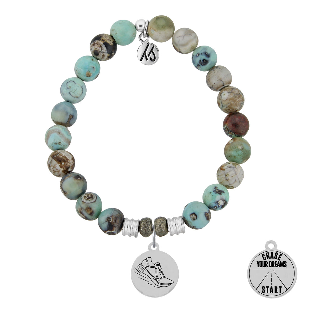 Turquoise Jasper Stone Bracelet with Run Your Own Race Charm