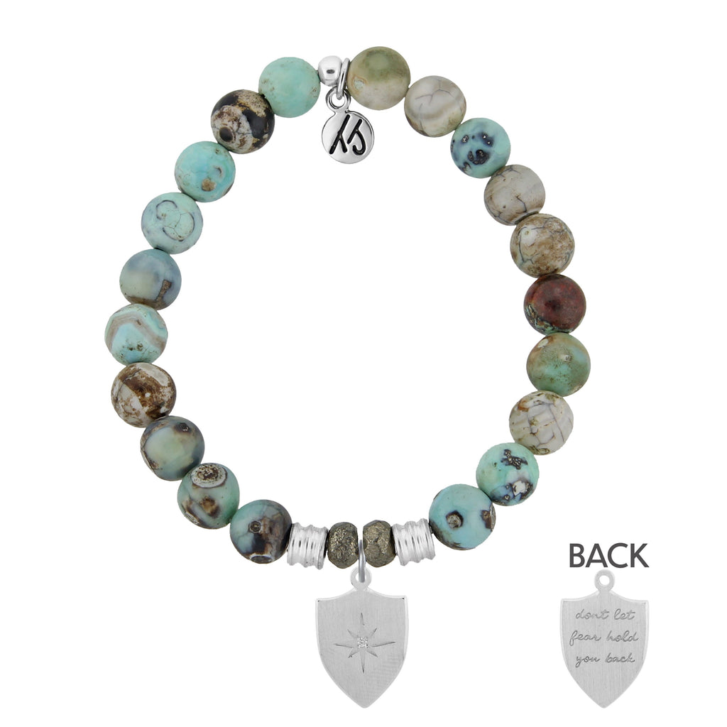 Turquoise Jasper Stone Bracelet with Shield of Strength Sterling Silver Charm