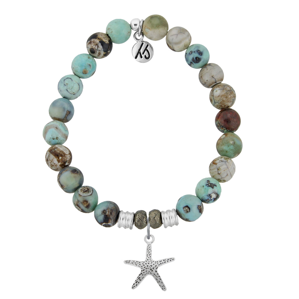 Turquoise Jasper Stone Bracelet with Starfish Sterling Silver Charm
