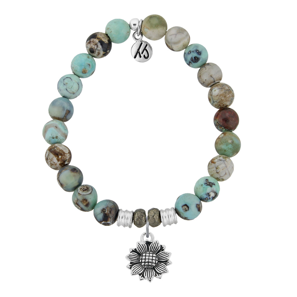 Turquoise Jasper Stone Bracelet with Sunflower Sterling Silver Charm