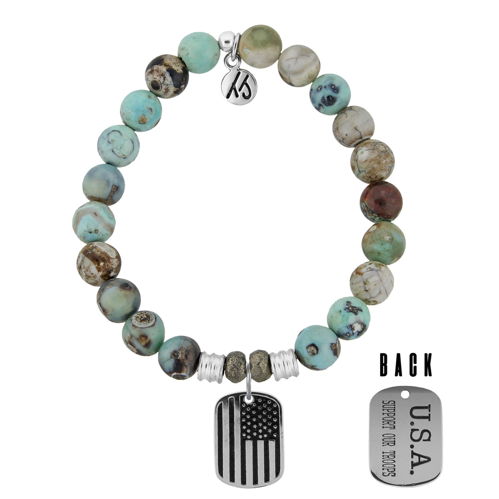 Turquoise Jasper Stone Bracelet with Support Our Troops Sterling Silver Charm