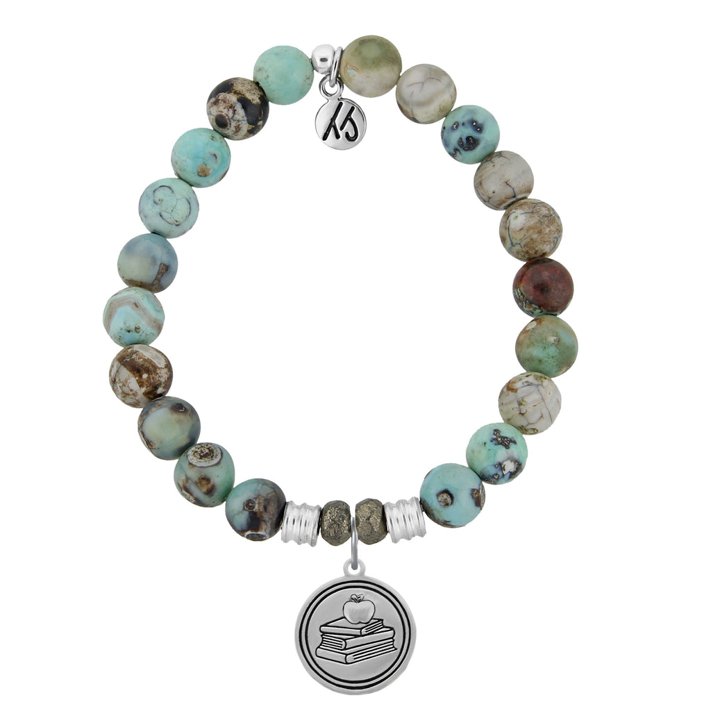 Turquoise Jasper Stone Bracelet with Teacher Sterling Silver Charm