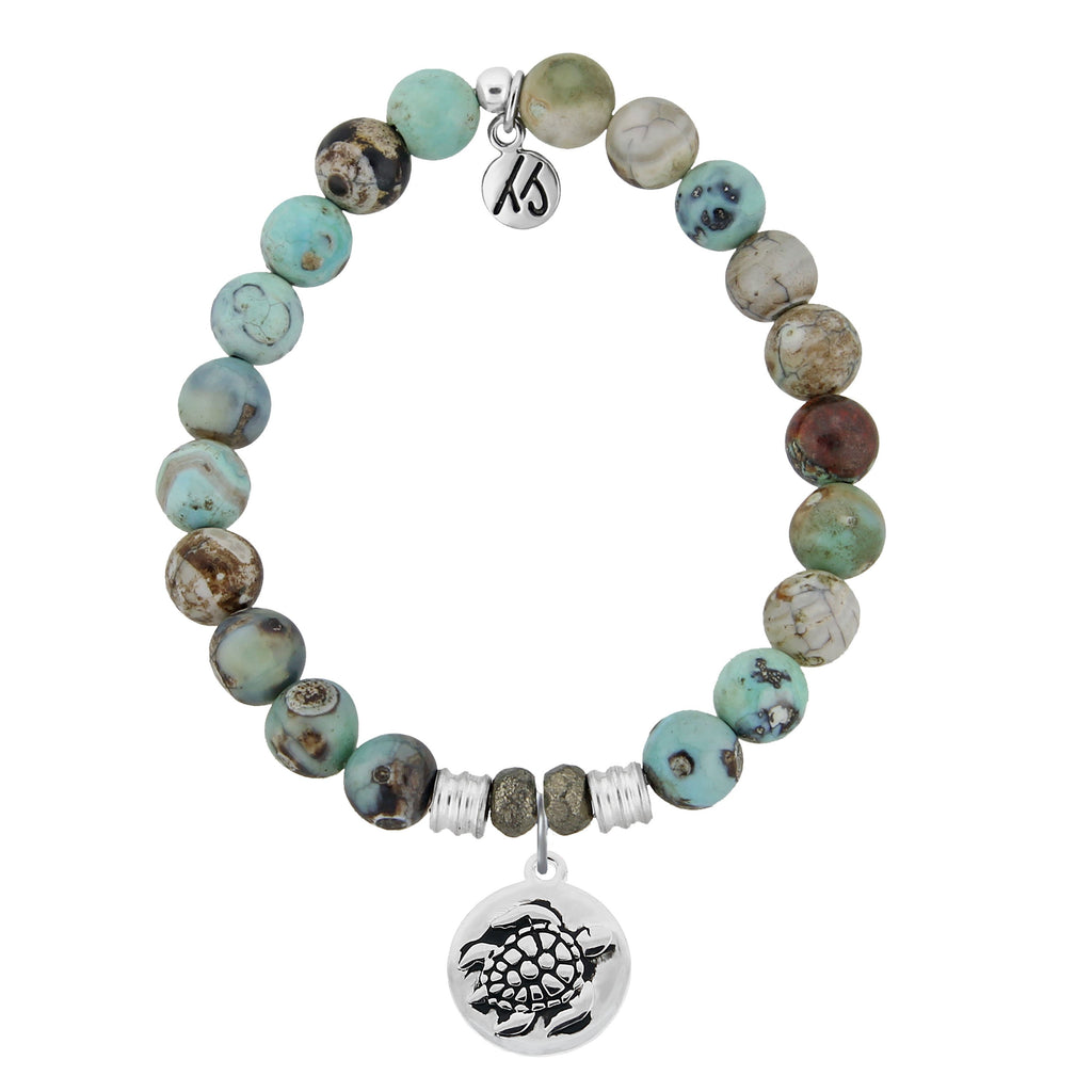 Turquoise Jasper Stone Bracelet with Turtle Sterling Silver Charm