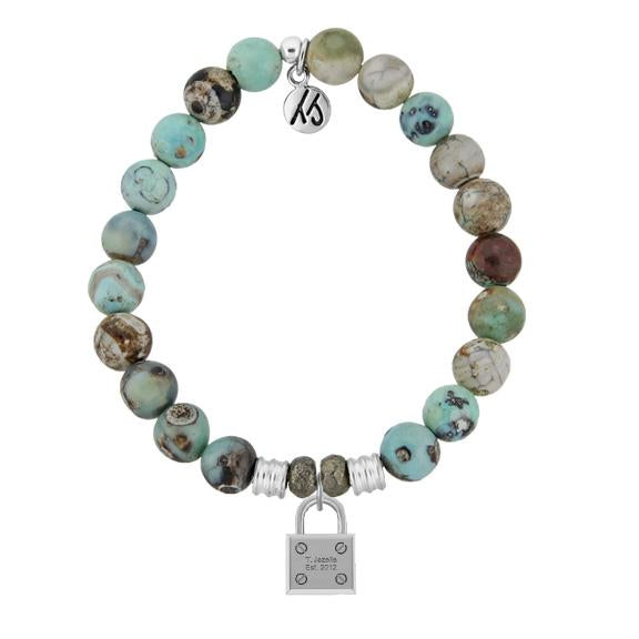 Turquoise Jasper Stone Bracelet with Unbreakable Sterling Silver Charm