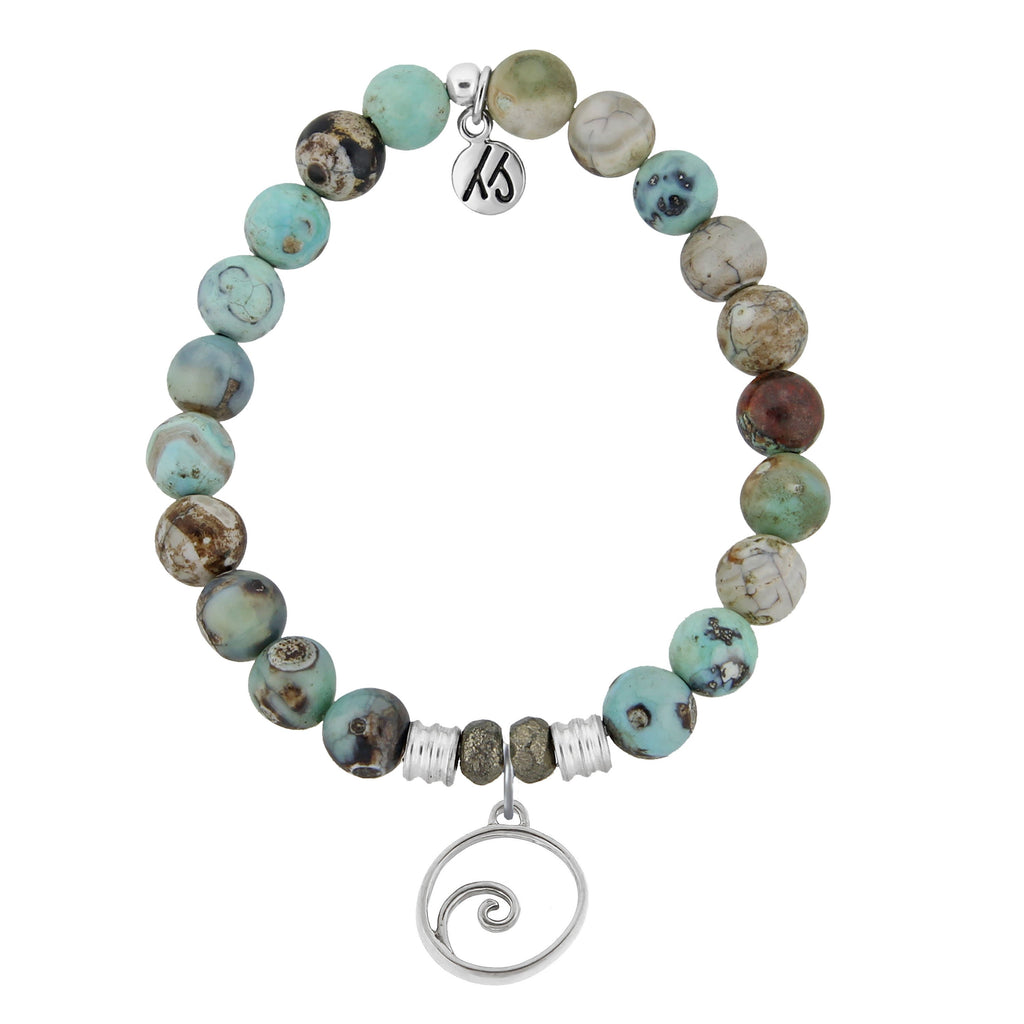 Turquoise Jasper Stone Bracelet with Wave Sterling Silver Charm