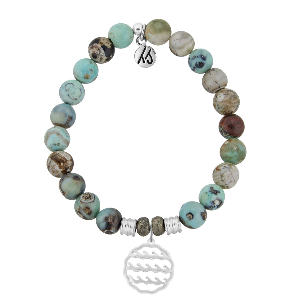 Turquoise Jasper Stone Bracelet with Waves of Life Sterling Silver Charm