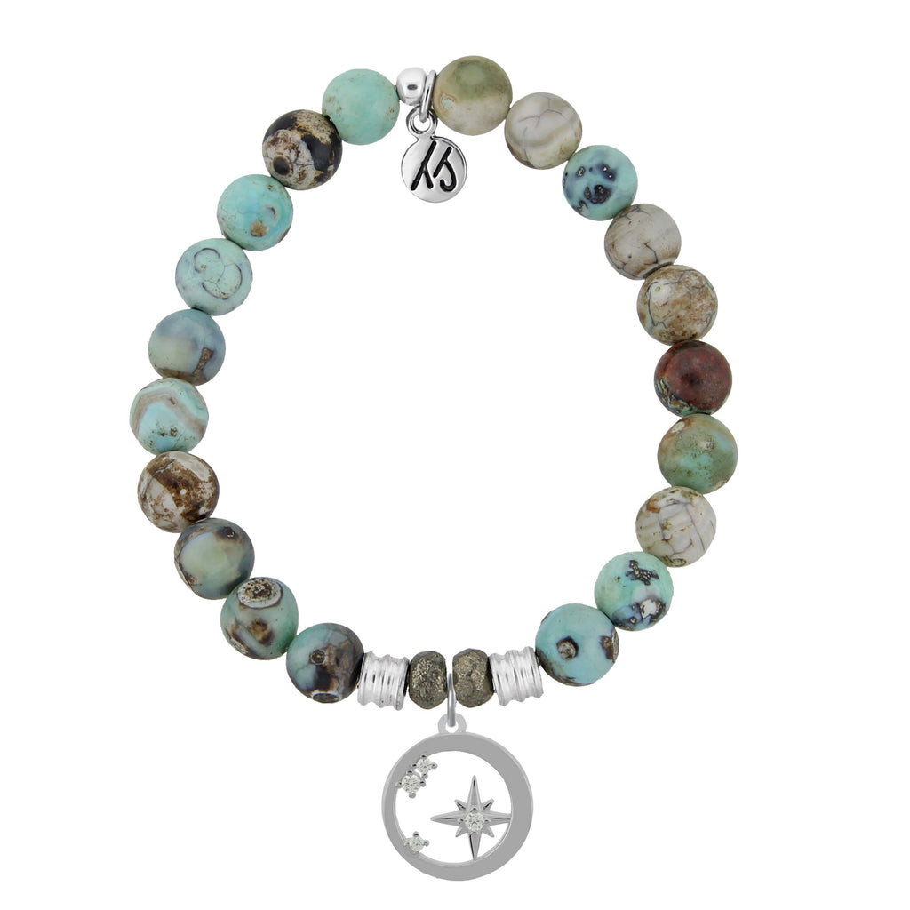 Turquoise Jasper Stone Bracelet with What is Meant to Be Sterling Silver Charm
