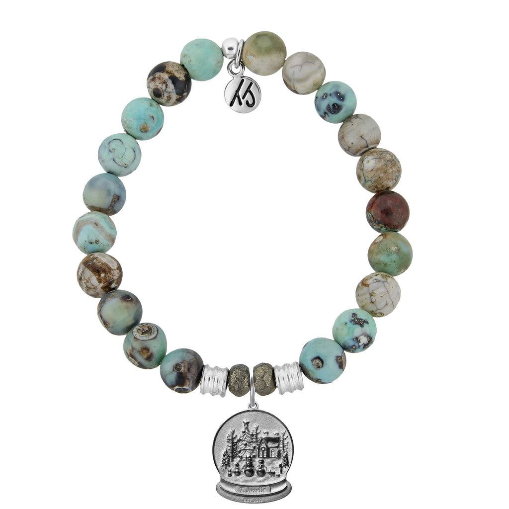 Turquoise Jasper Stone Bracelet with Winter Wonderland Sterling Silver Charm