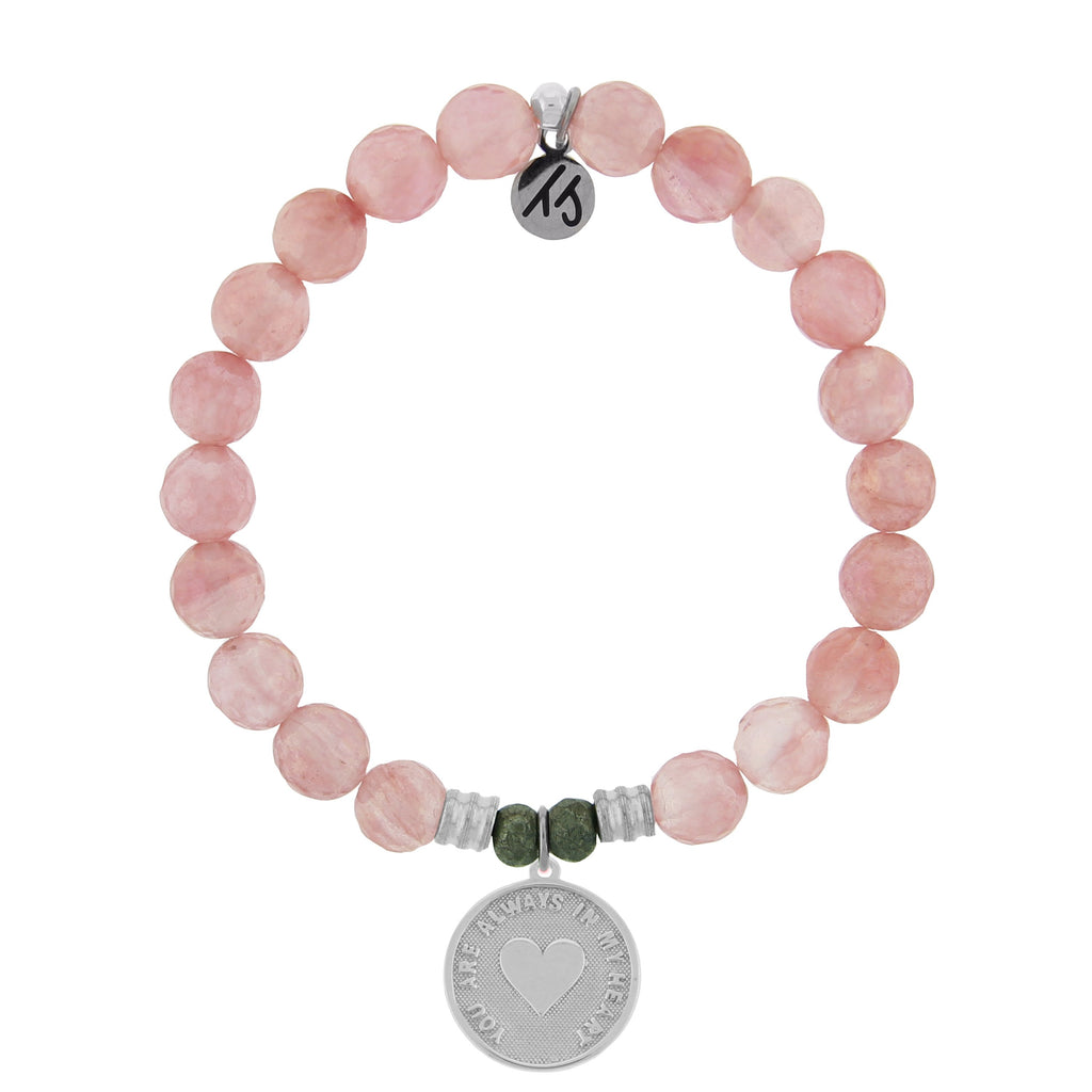 Watermelon Quartz Stone Bracelet with Always In My Heart Sterling Silver Charm