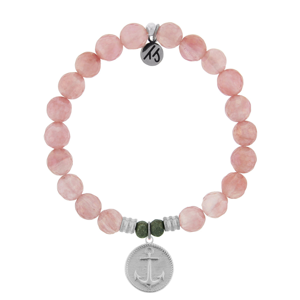 Watermelon Quartz Stone Bracelet with Anchor Sterling Silver Charm